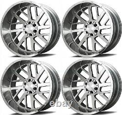 22x12 Axe Ax2.1 5x127/5x139.7 -44 Silver Brush Milled Wheels Rims Set(4) 87.1