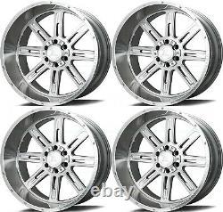 22x12 Axe Ax4.1 5x127/5x139.7 -44 Silver Brush Milled Wheels Rims Set(4) 87.1