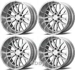 24x12 Axe Ax1.1 8x6.5/8x165.1 -44 Silver Brush Milled Wheels Rims Set(4) 125,2