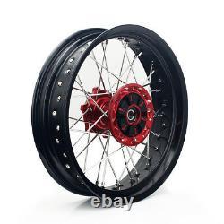 3.517/4.2517 Supermoto Red Hub Wheel Rim Set Suzuki Drz 400 S Sm 05-20 Drz400e