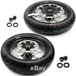3.5 / 4.2517 Cst Tire Fit Suzuki Drz400sm 2005-2018 Supermoto Roues Jantes Set Blk