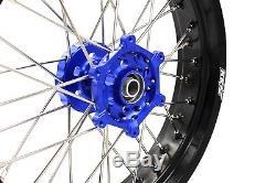 3.5 / 4.2517 '' Jantes Supermoto Set Fit Suzuki Drz400e Drz400s Drz400sm Bleu