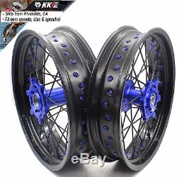 3.5 / 4.2517 Jeu De Jantes Pour Roues Supermoto Fit Suzuki Drz400 Drz400s / E Drz400sm Noir