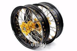 3.5 / 4.2517 Jeu De Roues Supermoto Pour Suzuki Drz400 Drz400s / E Drz400sm Gold