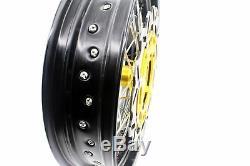 3.5 / 4.2517 Les Jantes Supermoto Motard Conviennent À La Suzuki Drz400sm 2005-2018 Gold