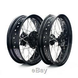 3,5 / 4.25x17 ' ' Cush Roues Motrices Set Suzuki Drz400sm Jantes Noires Moyeux Frein Rotors