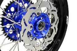 3,5 Kke / 4.25 Supermoto Jantes Set Suzuki Drz400sm 05-19 Bleu 310mm Disc