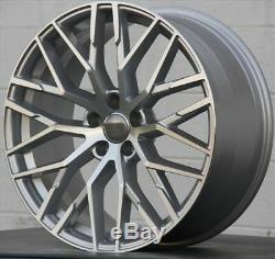(4) Set 20x9 5x112 Argent Roues Et Pneus De Machine Emballage Audi A4 S4 A5 S5 A6 S6 A8 A7