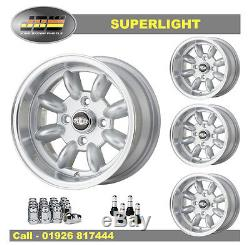 7x 13 Roues Superlight Classic Ford Set Of 4 Silver