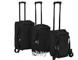 Bagages Black 3 Piece Travel Set Wheels Storage Handle Small Medium Large