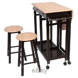 Ensemble De Table Et Chaises De Salle À Manger Petite Cuisine Roues Pliantes Pour Chariot À Îlot 2 Tabourets