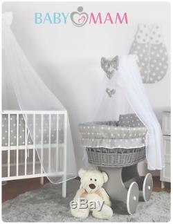 Grey Wicker Roues Couffin Bebe + Complet Literie Set Petit Étoiles Blanc Sur Gris