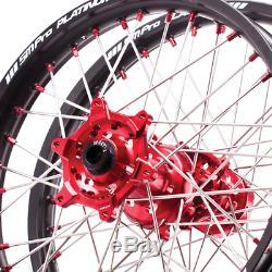 Jeu De Roues Sm Pro Platinum MX Suzuki Rmz 450 05-19 21/19 Moyeu Rouge / Jante Noire / Re