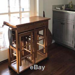 Kitchen Island Pliable Set Petite Table Avec Tabourets, Îlot De Cuisine Sur Roues