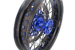 Kke 17 Supermoto Wheel Rim Set Fit Suzuki Drz400sm 2005-2020 Disque Noir Spoke