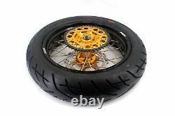 Kke 17 Supermoto Wheel Rim Tires Set Fit Suzuki Drz400sm 2005-2020 Cnc Gold Hub