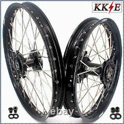Kke 21/18 Cnc Roues Réglées Pour Suzuki Drz400 Drz400e Drz400s Drz400sm Black Hub