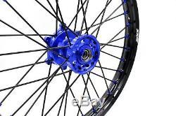 Kke 21/18 Enduro Roues Jeu De Jantes Fit Suzuki Drz400s Drz400sm Drz400e Bleu / Noir