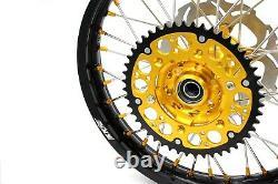 Kke 21 18 Enduro Spoke Wheel Rim Set For Suzuki Drz400sm 2005-2020 Gold Nipple