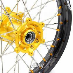 Kke 21/18 Enduro Wheels Set De Jantes Pour Suzuki Drz400sm Drz400s / E Drz400 Gold Nippl