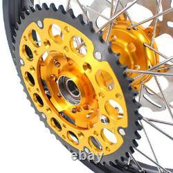 Kke 21 18 Roues De Moto Cnc Rims Set Fit Drz400sm 2005-2020 Hubs D'or