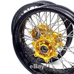 Kke 3.5 / 4.2517 Jeu De Jantes Pour Roues Supermoto Fit Suzuki Drz400 Drz400e / S Drz400sm