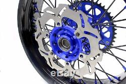 Kke 3.5 / 4.2517 Jeu De Roues Supermoto Adapté Au Disque Suzuki Drz400sm 2005-2018, Bleu / Noir