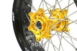 Kke 3.5/4.2517 Roues Supermoto Rims Set Fit Suzuki Drz400e 400s 400sm Gold Hub
