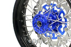 Kke 3,5 / 4,2517 '' Supermoto Jantes Set Suzuki Drz400sm 2005-2019 Bleu