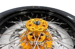 Kke 3.5/4.2517 Supermoto Wheel Rim Set Tire Fit Suzuki Drz400sm 2005- Gold Hub