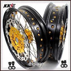 Kke 3.5 / 4.25 Ensemble De Roues Supermoto Pour Disque De Pincement D'or Suzuki Drz400sm 05-18 310mm