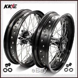 Kke 3.5 / 4.25 Ensemble De Roues Supermoto Pour Suzuki Drz400 Drz400e Drz400d Drz400sm Noir