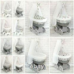Luxe Wicker Moses Basket Full Set Wheel Baby Full Dimple Bedding Set Canopy