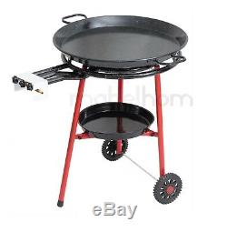 Mabel Accueil Paella Pan + Paella Brûleur Et Stand On Wheels + Kit Complet Paella
