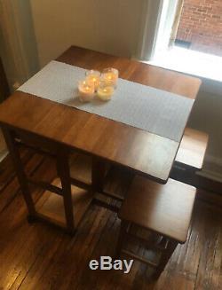 Pliable Îlot De Cuisine Set Petite Table Avec Tabourets, Îlot De Cuisine Sur Roues