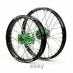 Sm Pro Wheels Set Back Rims Green Hubs Kawasaki Kx 06- Kxf 250 450 2006-2020