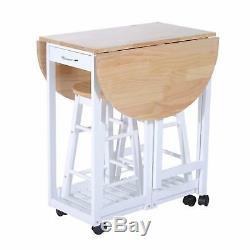 Table Et Chaises De Salle À Manger De Petite Cuisine Réglant Des Roues De Chariot À Tabourets De L'île Pliante 2