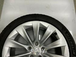 Tesla Modèle S 5yjs 1x 245/ 45 R19 Roue En Alliage 10spoke Style Argent 1039337-00-a