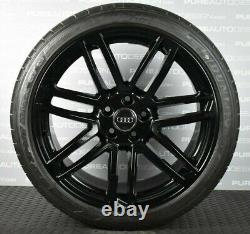 Véritable Audi A5 S5 Roues En Alliage Viper Black Avec Pneus Dunlop 5x112