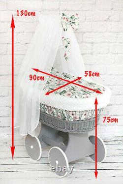 Wicker Wheels Moses Basket Bébé Ensemble De Literie Complete Canopy Drape Bow Hearts Blanc